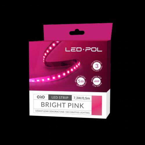 LED páska ORO-STRIP-600L-2835-NWD-BRIGHT-PINK, 5m, 7,3W/0,5m, DC 12V, ORO09074