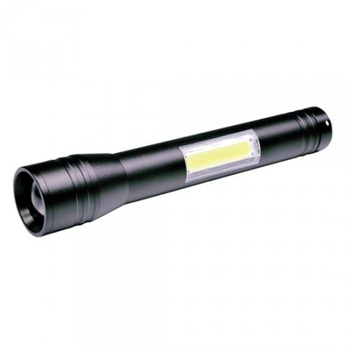 LED kovová svítilna 3W + COB, 150 + 120lm, 2x AA, èerná, Solight WL116 - zvìtšit obrázek
