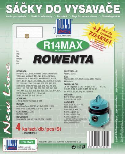 Sáèky do vysavaèe Jolly R14 MAX Rowenta 4ks textilní + 1 vùnì zdarma - zvìtšit obrázek