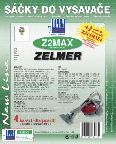Sáèky do vysavaèe Jolly Z2 MAX Zelmer 4ks textilní + 1 vùnì zdarma - zvìtšit obrázek