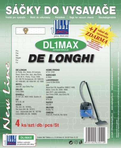 Sáèky do vysavaèe Jolly DL1 MAX De Longhi 4ks textilní + 1 vùnì zdarma - zvìtšit obrázek