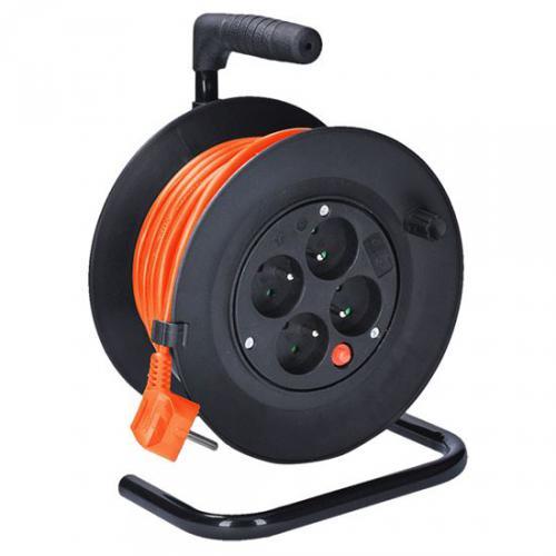 Prodlužovací pøívod na bubnu, 4 zásuvky, 15m, oranžový kabel, 3x 1,0mm2, Solight PB22O - zvìtšit obrázek