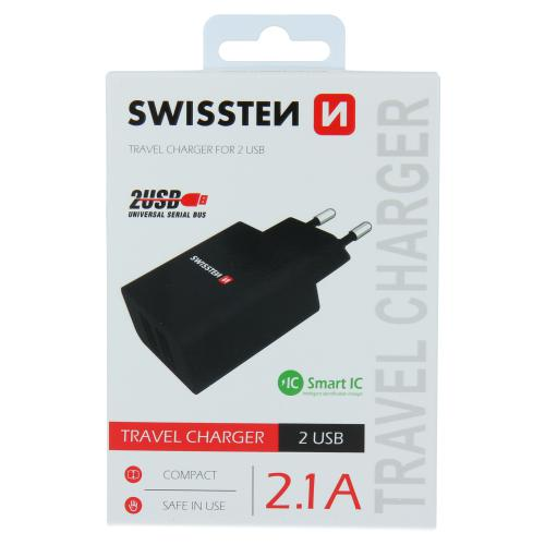 Sí�ový adaptér Swissten SMART IC 2x USB 2,1A Power èerný, 22033000