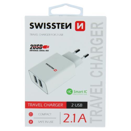 S�ov� adapt�r Swissten SMART IC 2x USB 2,1A Power b�l�, 22034000 - zv�t�it obr�zek