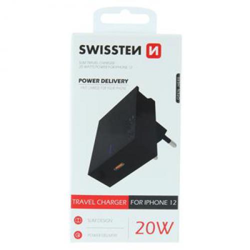 Sí�ový adaptér Swissten Power Delivery 20W pro iPhone 12, èerný, USB-C, 22050500