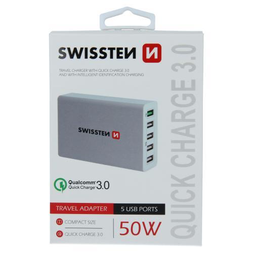 S�ov� adapt�r Swissten Qualcomm 3,0 Quick Charge, SMART IC, 5x USB 50W Power b�l�, 22013306 - zv�t�it obr�zek