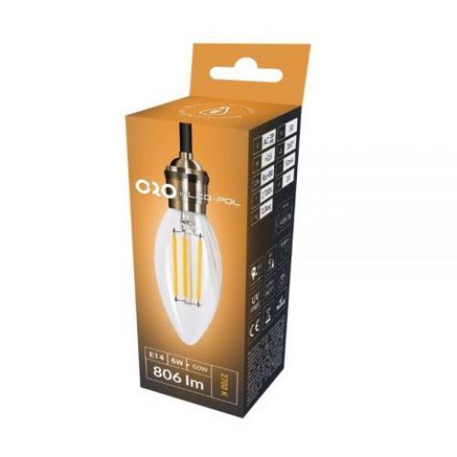 LED žárovka retro LED-POL Claro 6W, E14, 806lm, 4000K, ORO03063