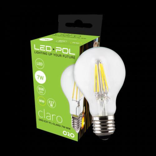 LED žárovka retro LED-POL Claro 7W, E27, 808lm, 2700K, WW, ORO04100