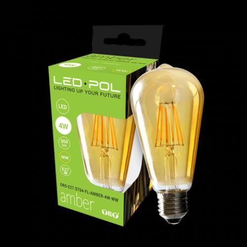 LED žárovka retro LED-POL Amber 4W, E27, 360lm, 2700K, WW, ORO04027