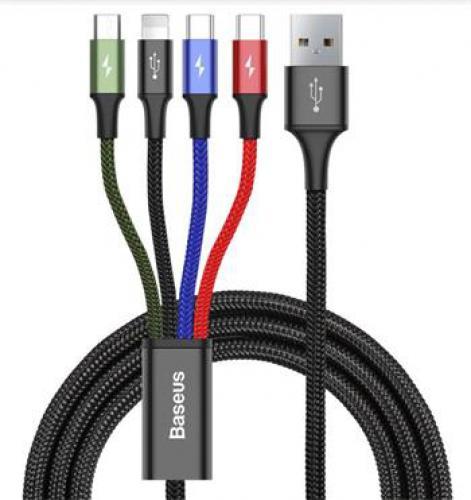Kabely pro nabíjení Baseus CA1T4-B01 Fast 4in1 Kabel Lightning, 2x USB-C, MicroUSB 3.5A 1.2m Black