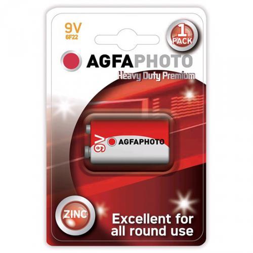 Zinková baterie AgfaPhoto 9V / 6F22, blistr 1ks