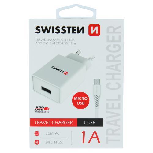 Kvalitní nabíjeèka Swissten Smart IC 1x USB 1A Power + datový kabel micro USB 1,2m 22061000