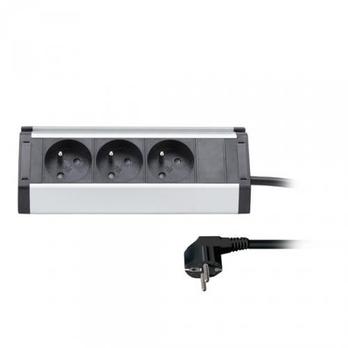 Prodlužovací pøívod, 3 zásuvky, 1,5m, 3 x 1mm2, hliník, rohový design, Solight PP104
