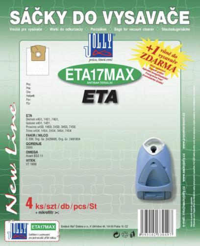 Sáèky do vysavaèe Jolly ETA17 MAX 4ks textilní + 1 vùnì zdarma - zvìtšit obrázek