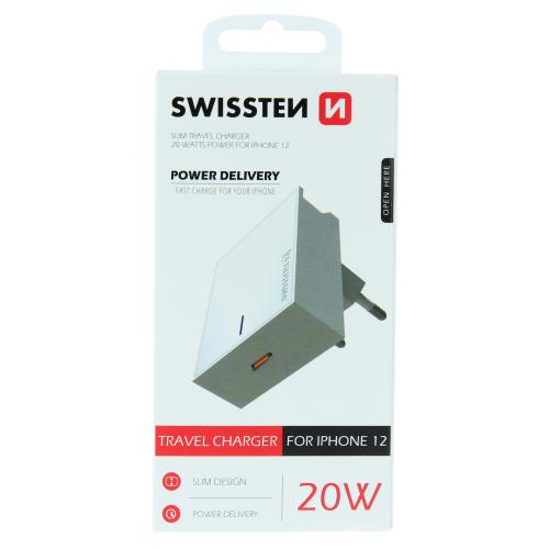 Sí�ový adaptér Swissten pro iPhone 12 USB-C Power Delivery 20W, bílý, 22050600