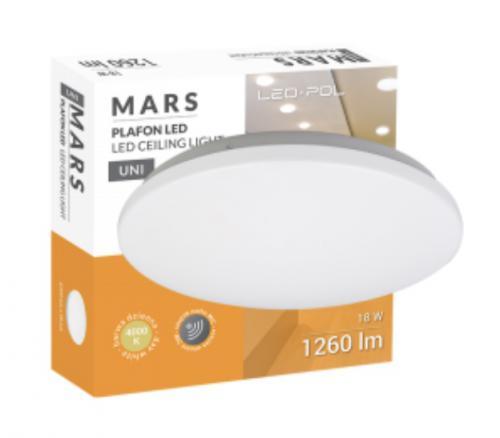 LED svítidlo s èidlem pohybu LED-POL ORO-MARS-18W-DW-MIC, 18W, 1260lm, IP20, ORO26018