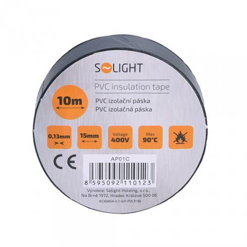 Izolaèní páska, 15mm x 0,13mm x 10m, èerná, Solight AP01C - zvìtšit obrázek