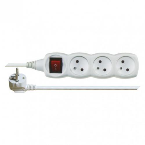 Prodlužovací kabel s vypínaèem, 3 zásuvky, 1,5m, bílý, Emos P13115