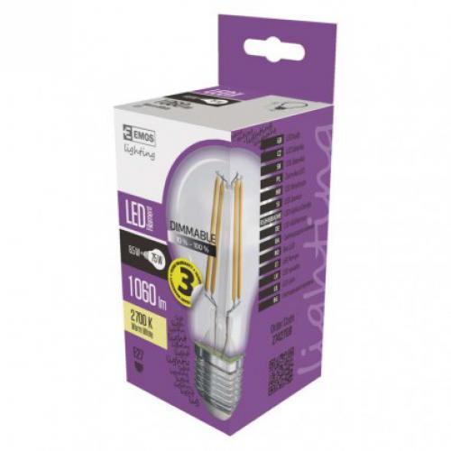LED stmívatelná žárovka Filament A60 8,5W E27 teplá bílá, 2700K, 1060lm, Emos Z74270D