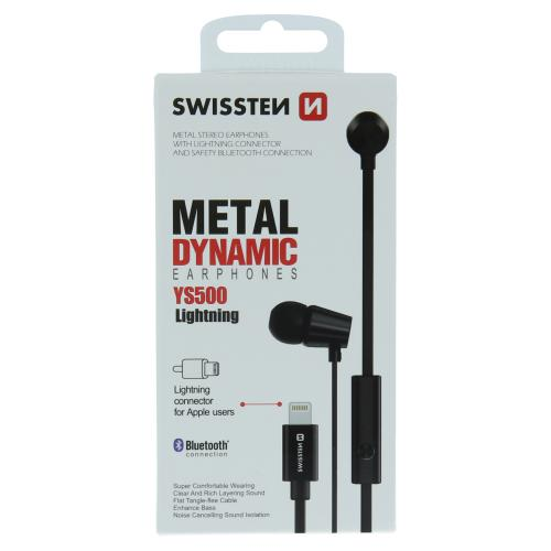 Sluchátka SWISSTEN Earbuds Dynamic Lightning YS500 èerné - 51108001