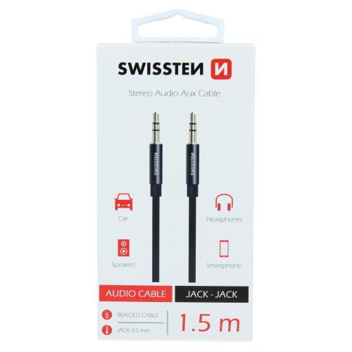 Audio kabel Swissten textile AUX Jack - Jack 1,5M èerný - 73501101