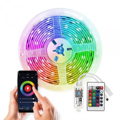 Wifi Smart LED svìtelný pás, RGB, 5m, sada s adaptérem a dálkovým ovladaèem, Solight WM57