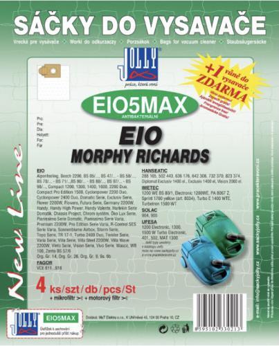 Sáèky do vysavaèe Jolly EIO5 MAX EIO, Morphy Richards, textilní (4 ks) + 1 vùnì zdarma - zvìtšit obrázek