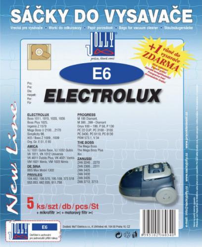 Sáèky do vysavaèe Jolly E6 Electrolux papírové 5 ks + 1 vùnì zdarma - zvìtšit obrázek