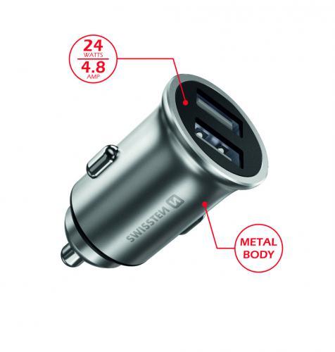Auto nabíjeèka CL adaptér Swissten 2x USB 4,8A Metal støíbrný, 20115100