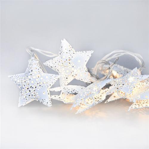 LED øetìz vánoèní hvìzdy, kovové, bílé, 10LED, 1m, 2x AA, IP20, Solight 1V224