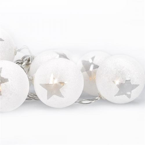 LED øetìz vánoèní koule, 10LED, 1m, 2x AA, èasovaè, IP20, Solight 1V226