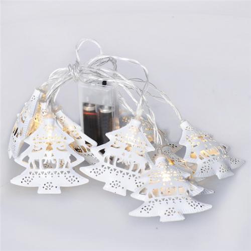 LED øetìz vánoèní stromky, kovové, bílé, 10LED, 1m, 2x AA, IP20, Solight 1V225