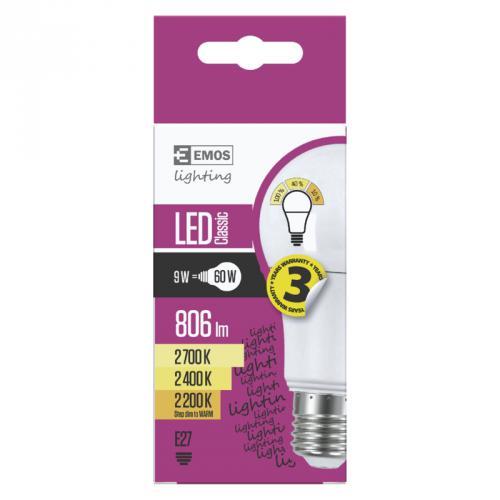 LED žárovka Classic A60, 9W, E27, 2700K - teplá bílá, stmívatelná, Emos ZQ5140W - zvìtšit obrázek