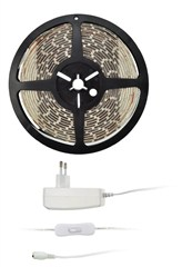 LED svìtelný pás s testrem, 5m, sada s 12V adaptérem, 4,8W/m, IP20, studená bílá, Solight WM50-20T