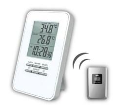 Solight bezdrátový teplomìr, teplota, èas, budík, bílý, TE44