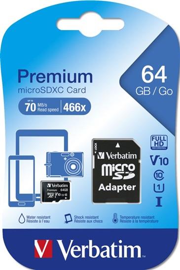 Pamì�ová karta Verbatim Premium microSDXC 64GB UHS-I V10 U1 Class 10 + SD adaptér