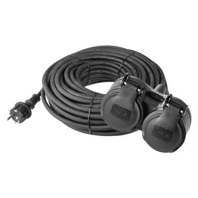 Prodlužovací kabel gumový EMOS P0601 – 2 zásuvky, 10m, 3x 1,5mm2, IP44